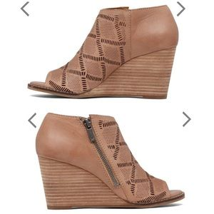 Lucky Brand Jaspah Open Toe Bootie Wedge Side ZIP